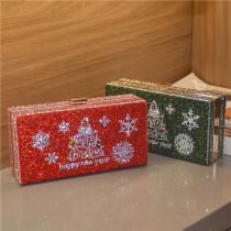 Christmas tree water diamond small square bag dinner bag