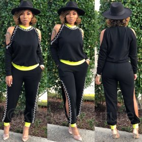 Round neck off the shoulder long sleeve autumn winter two piece set