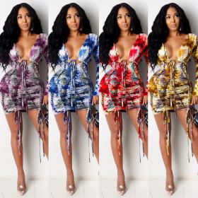 High waist open back drawstring long sleeve cotton like dress for women