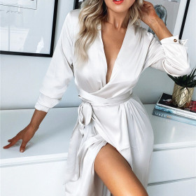 Solid color women's sexy cardigan lace up dress