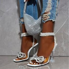 Transparent heel pearl diamond beaded bow sandals