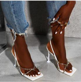 Square toe transparent water diamond slim high heel women's sandals