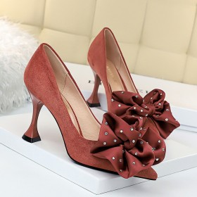 Shallow pointed suede high heel water drill big flower