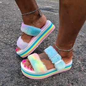 Open toe sandals with thick bottom belt buckle