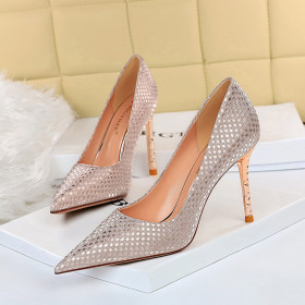 Sexy thin banquet metal heel slim heel high heel shallow mouth pointed sparkle Sequin cloth women's single shoes