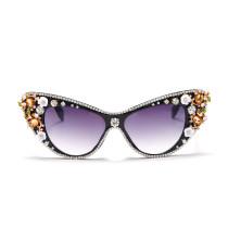 Fashion, cat's eye, sunglasses, handmade, diamond inlaid, personality, sunglasses