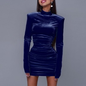 Solid color, pleated, back zipper, shoulder pad, sexy, dress