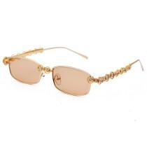 Fashion, retro, small box, metal frame, sunglasses, sunglasses, flat lenses
