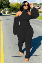 Fashion, sexy, hanging neck, pleated, split pants, bubble sleeves, open back, jumpsuit