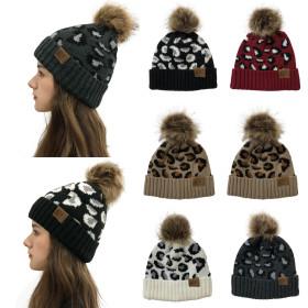 Leopard print, curled hem, wool ball knitted hat, women's wool hat