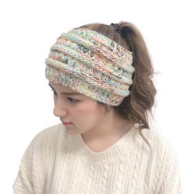 Plush, wool headband, knitting, color, horsetail, hair band, pullover cap