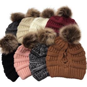Opening, detachable, cross, ponytail, ball, knitting, wool hat