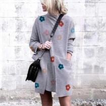 Loose, lightning, print, crew neck, pullover, long sleeve, dress