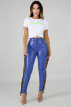 High stretch, plush, leather pants, stitching, sequins, tassel, PU leather pants