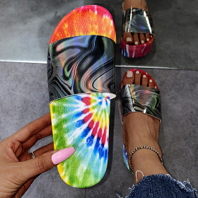 Flip flop, pattern and color, middle heel, thick bottom, outer wear, cool drag