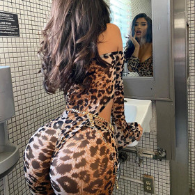 Sexy, leopard print, bodysuit, fashion, high waisted, buttocks wrapped, casual, suit