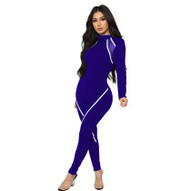 Fashion, leisure, sports, stripes, stitching, cycling, tight fitting, jumpsuit