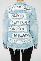Fashion, letter, print, loose, denim, jacket