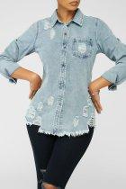 Holes, medium length, denim, shirt, coat