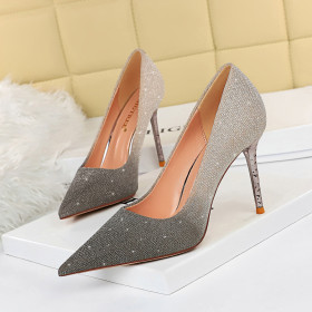 Sexy, high heels, slim heels, shallow mouth, pointed, gradient, single shoe
