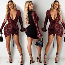 Sexy, nightclub, sequins, dress, sexy, deep V, pleated
