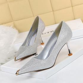 Fashion, sexy night, sequins, high heels, metal, Rhinestone, pointed, single shoes