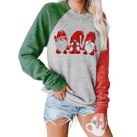 Christmas, sweater, three Santa Claus, pattern, round neck, long sleeve