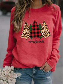 Christmas, long sleeve, print, casual, round neck, loose, sweater