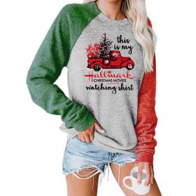 Christmas, print, crew neck, long sleeve, sweater