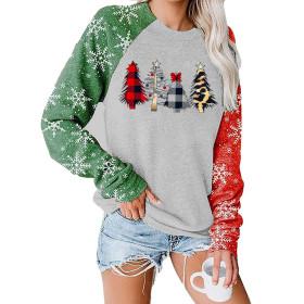Christmas tree Print, round neck, long sleeve, sweater