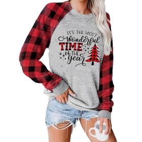 Christmas, sweater, Christmas tree Print, round neck, long sleeve
