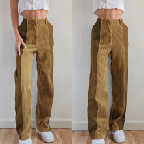 High waist, slim fit, corduroy, straight tube, casual pants