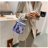 Shoulder bag, funny, banknote printing, box bag, chain, messenger bag