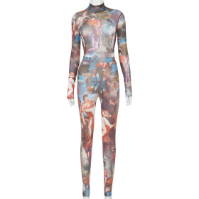 Fashion, print, long sleeve, one piece, casual, suit