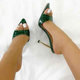 Metal head, stiletto, pointed, serpentine, sandals, slippers