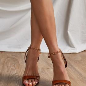 Metal chain, belt, pointed, stiletto, sandals