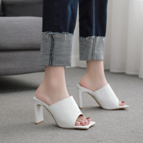 Square head, square heel, flat sandals, high heels, sandals