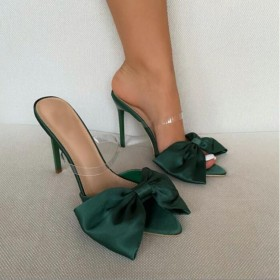 Pointed, stiletto, bow, satin, sandals