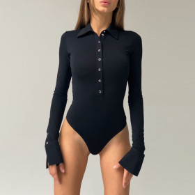 Sexy, button, lapel, long sleeve, one piece
