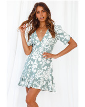 Spring and summer, new style, sexy, V-neck, slim fit, short sleeve, print, dress