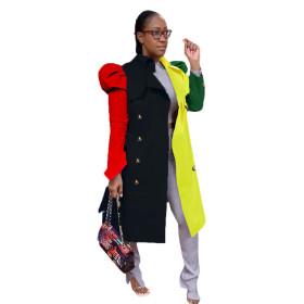Fashion, suit collar, color matching, medium length, bubble sleeve, windbreaker, coat