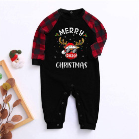 Christmas, baby, baby, long sleeve, check, color contrast, two piece set