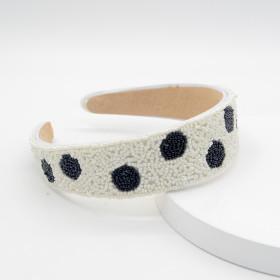 Beaded, hand sewn, black and white, headband, Rhinestone, wide side, hairband