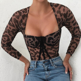 Sexy, slim, leopard print, long sleeve, gathered, T-shirt, Siamese