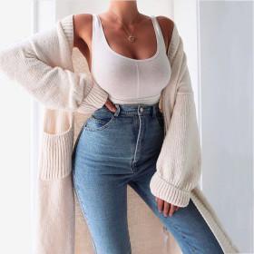 Fashion, solid color, plush, knitting, cardigan, coat
