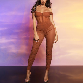 Sexy, perspective, mesh, jumpsuit, two piece set