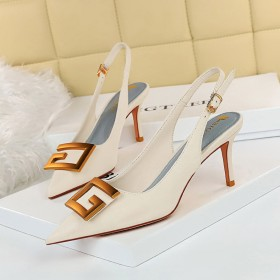 Thin heel, high heel, shallow mouth, pointed head, hollow out, back trip strap, single shoe
