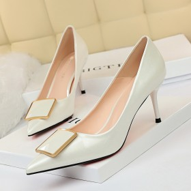 High heeled shoes, thin high heels, shallow mouth, pointed, sexy, belt buckle, single shoes