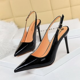 Super high heel, shallow mouth, pointed head, back trip strap, hollow out, high heel
