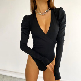 Sexy, fashionable, cross, V-neck, long sleeve, temperament, one-piece